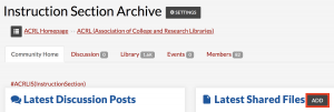 Screenshot of the add button for the IS Archive in ALA Connect