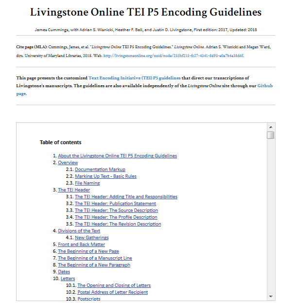 Image of the Table of Contents of the Livingstone Online TEI P5 Encoding Guidelines