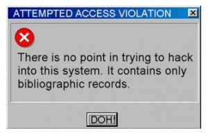 Parody error message for an OPAC