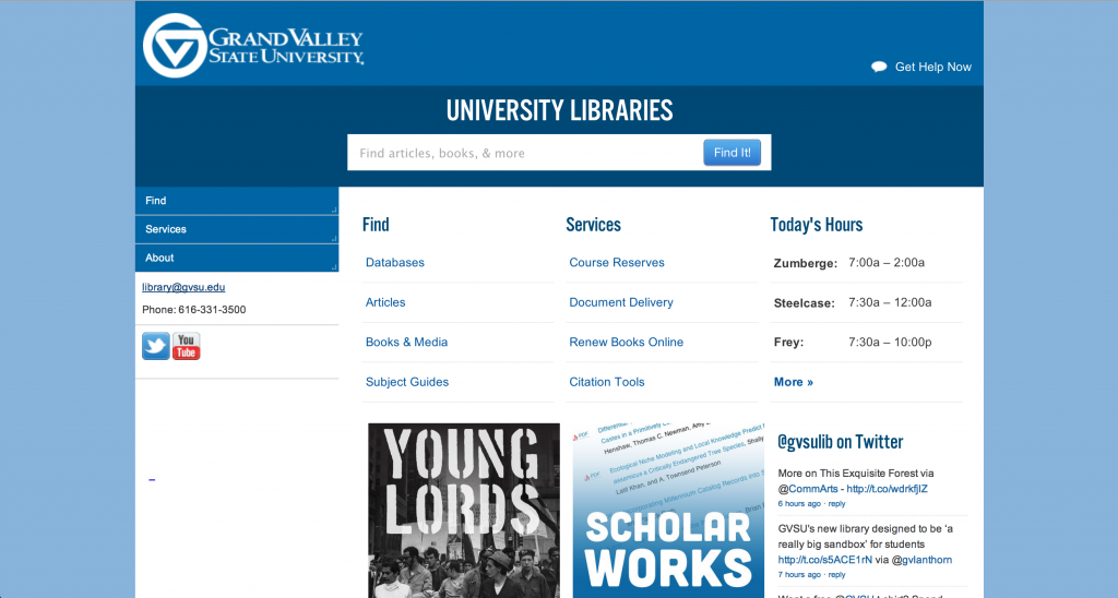 Grand Valley State University Libraries website via desktop browser