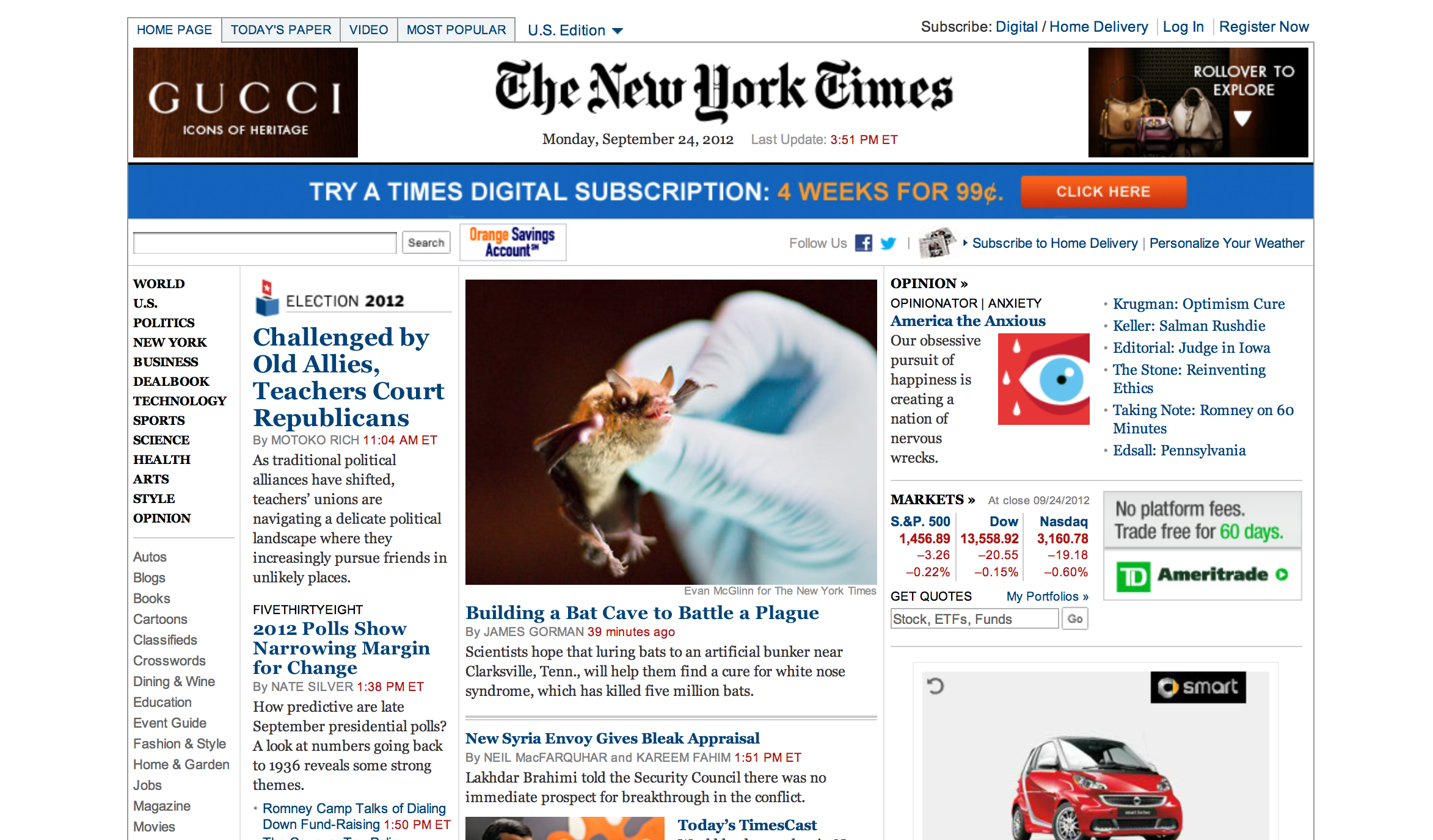 New York Times displayed on a desktop browser