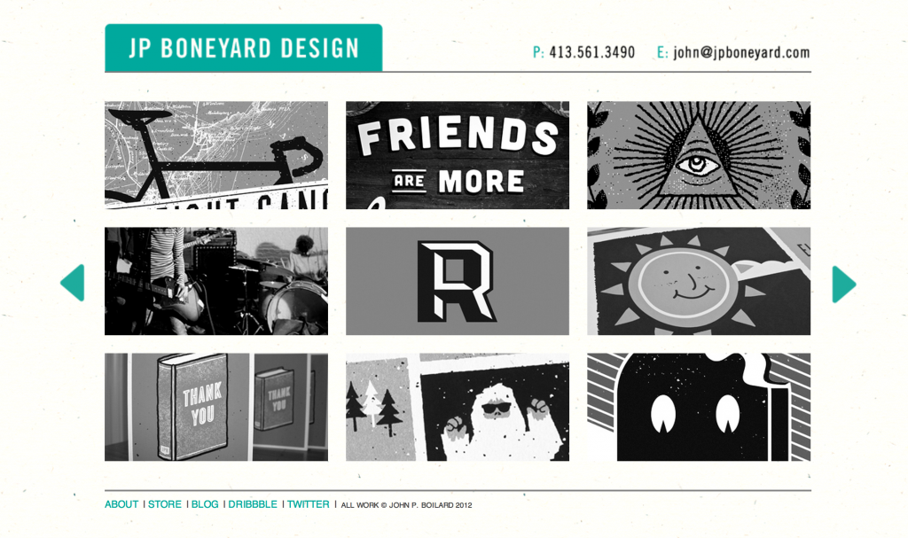 JP Boneyard Design viewed on a desktop browser