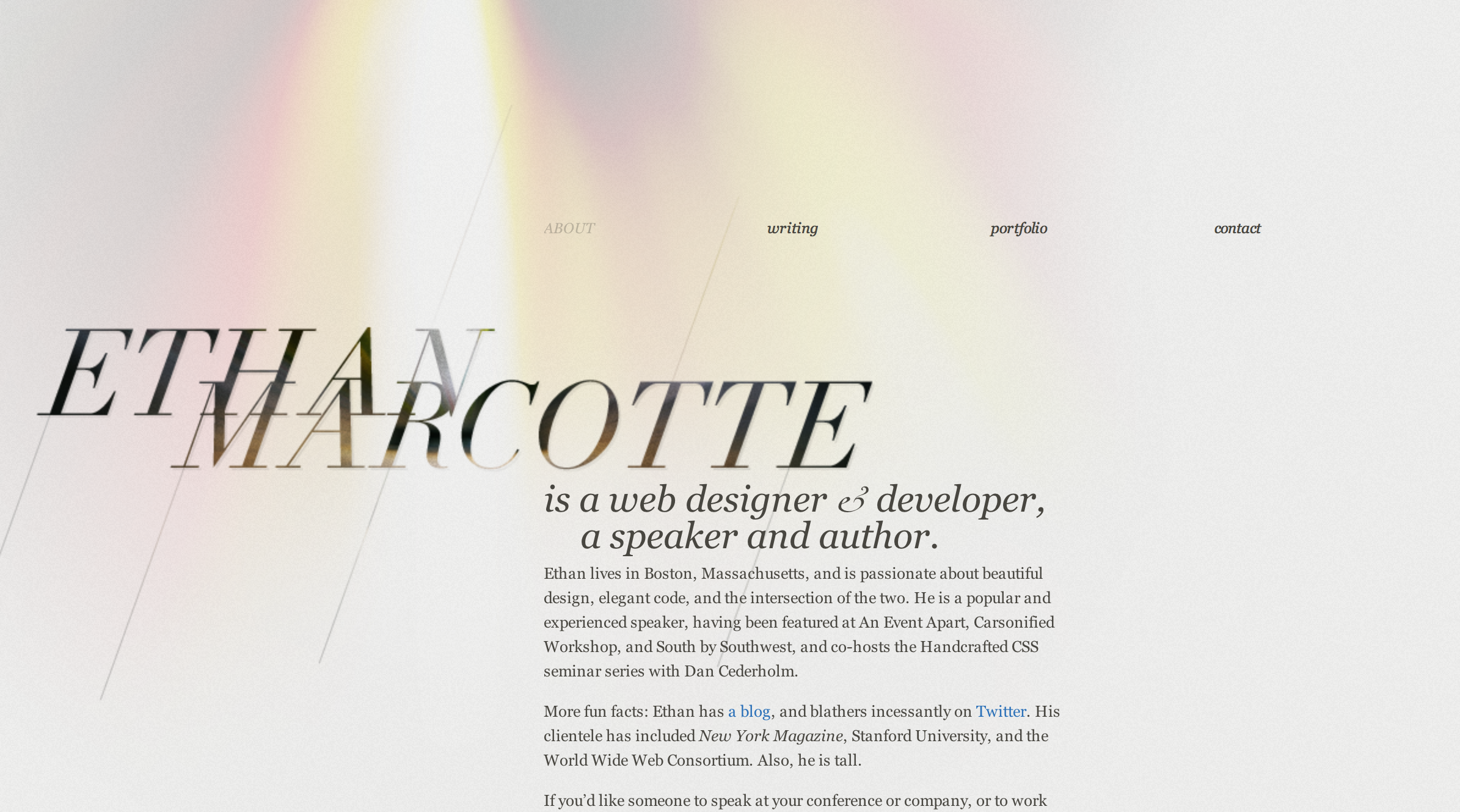 Ethan Marcotte website via desktop browser