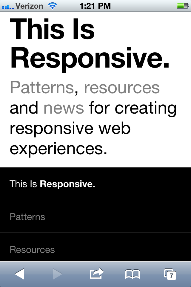 Brad Frost's This is Responsive Website via iphone