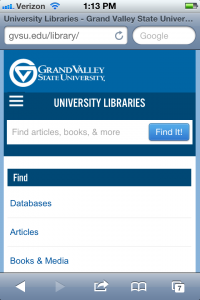 screenshot of GVSU Libraries' Website