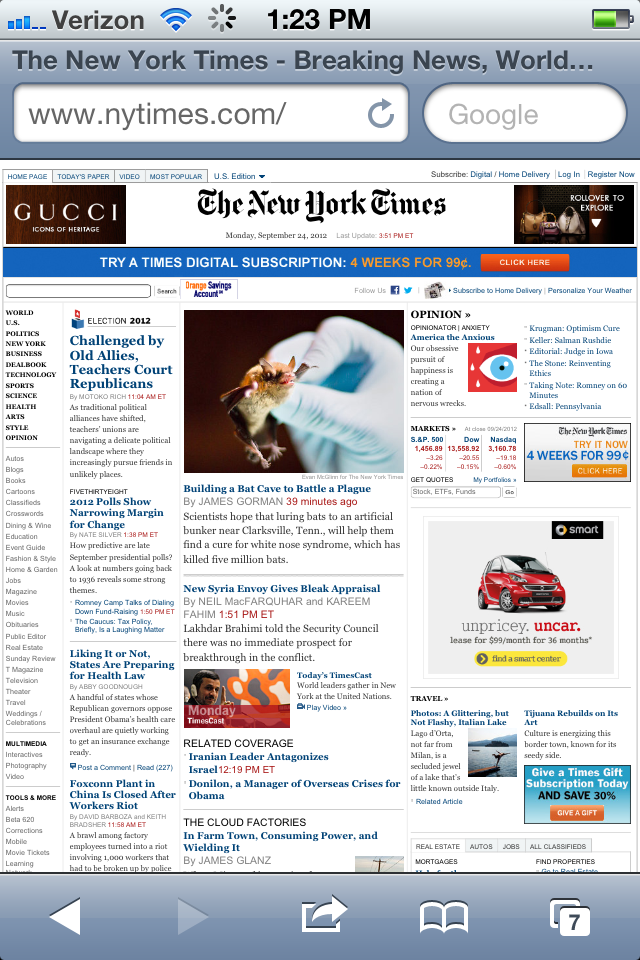 New York Times displayed on the iphone