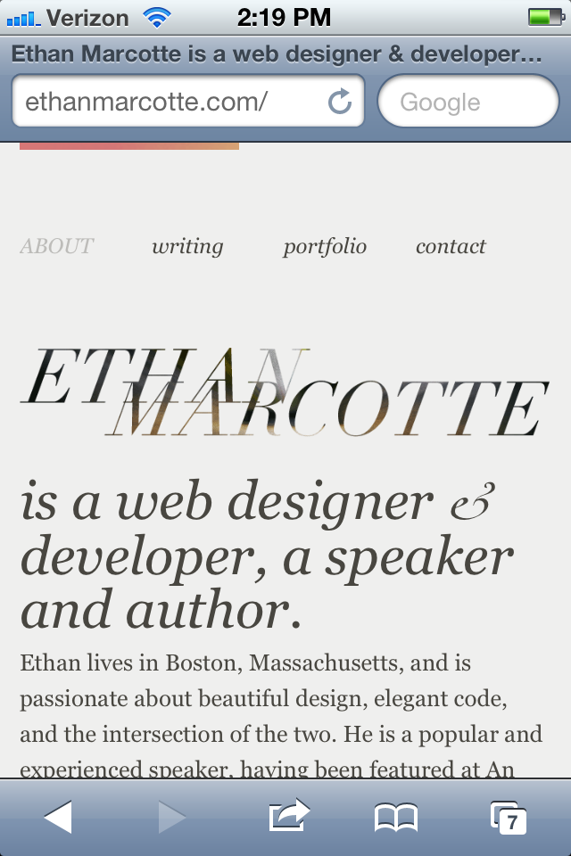 Ethan Marcotte website via the iphone