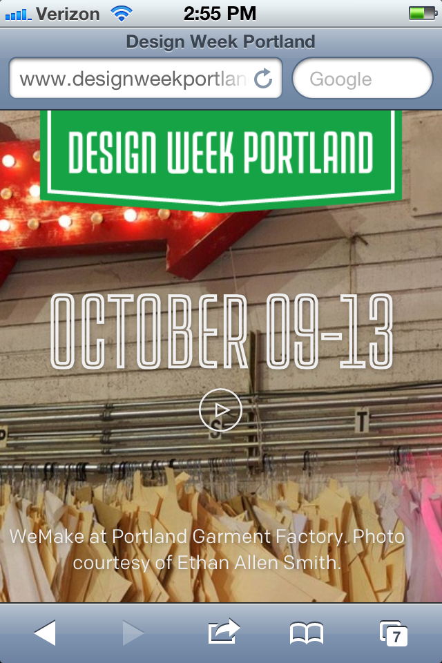 Portland Design Week website via iphone