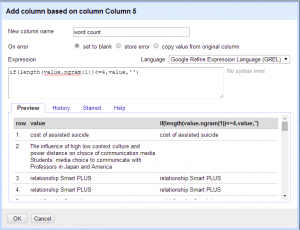 Screenshot of adding a column based on word count using ngrams