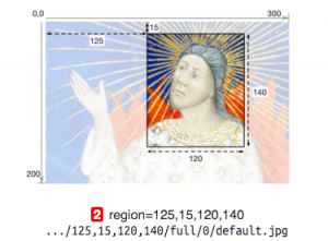 A screenshot showing a region of an image that can be returned via a IIIF Image API request. The region to be retrieved is specified using pixel area references (Left, Top, Right, Bottom).