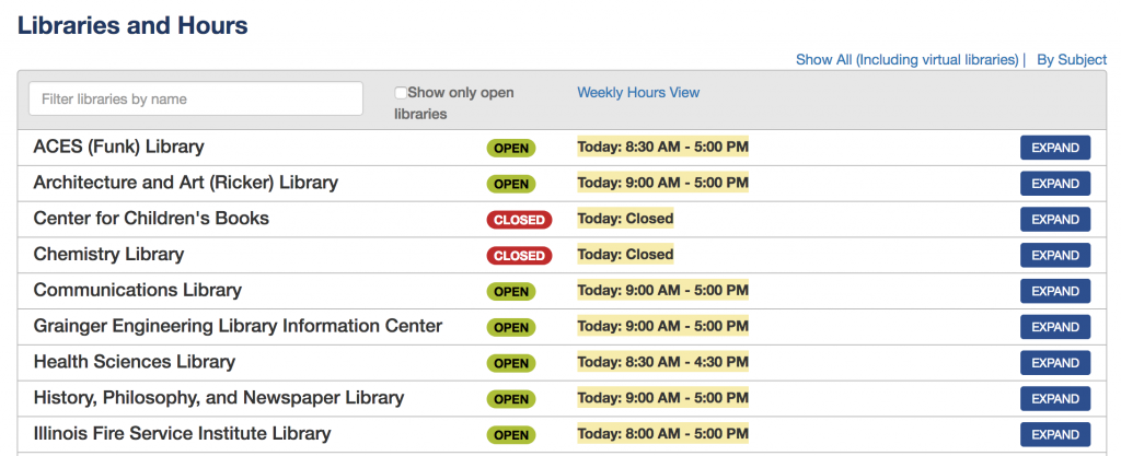Hours display on the UIUC Libraries' home page.